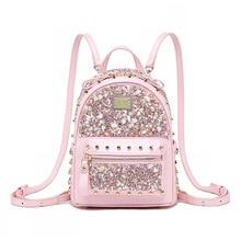 Women diamond mini Backpack luxury designer leather backpack
