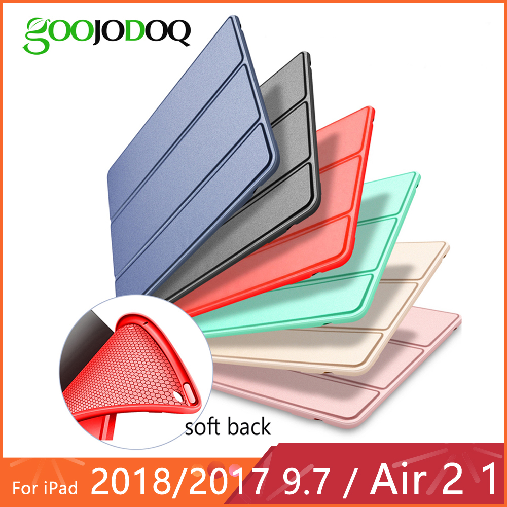 GOOJODOQ For iPad Air 2 1 Case 9.7 Funda Silicone Soft Back Pu Leather Case for iPad