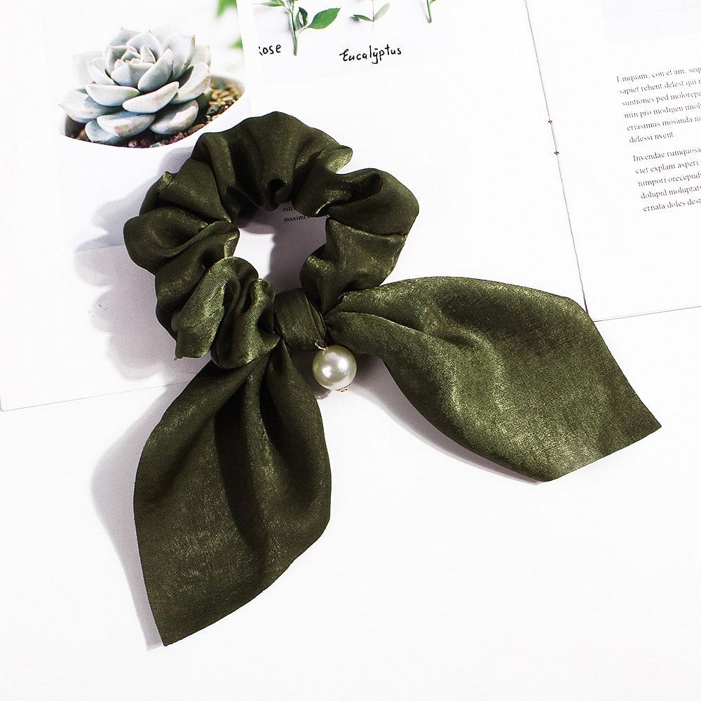 Nouveau mousseline de soie Bowknot élastique bandes de cheveux pour les femmes filles perle chouchous bandeau cheveux cravates élastique pour queue de cheval accessoires de cheveux 22