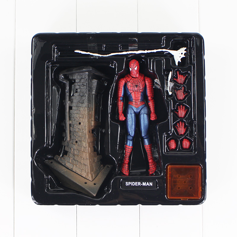 13.5cm Spider-Man Action Figure Sci-Fi Revoltech Series No. 039 Spiderman Web Toy Model Doll Gift for Children a toy a dream free shipping 6 tokusatsu revoltech no 002 hero spiderman spider man boxed 16cm pvc action figure model doll toy