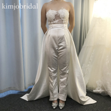 jumpsuit prom dresses real sweetheart neckline lace appliques beading sequins pants white wedding 2019 evening gowns