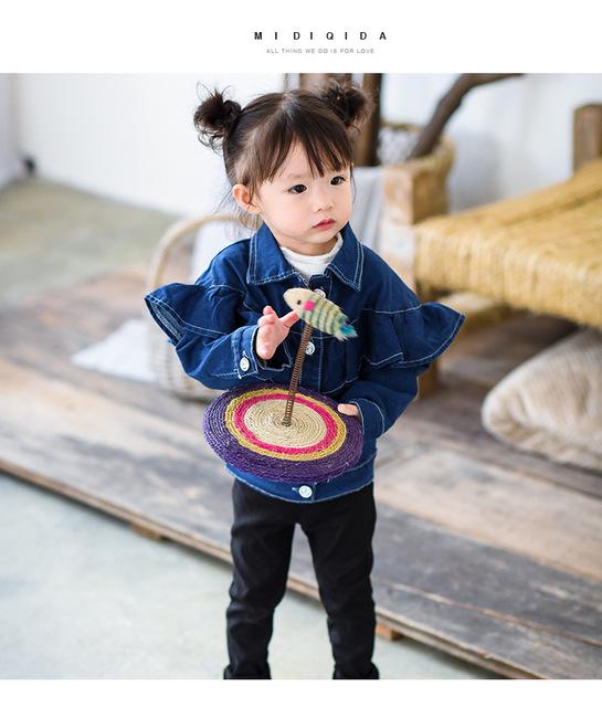 2016 nova primavera e no outono dia denim jaqueta casaco vestido da menina das crianças do bebê roupas meninas roupas frete grátis