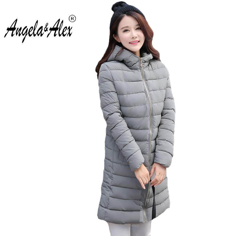 2017 new fashion Winter Jacket Women Cotton Medium Hooded Warm Parkas Girls Padded Slim Outwear Down Cotton ladies coat