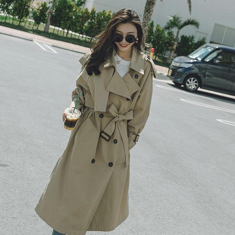 Kadın Giyim'ten Siper'de LANMRE 2018 Yeni Moda Gevşek Rahat Uzun Kollu Çentikli Yaka Aşırı Uzun Rüzgarlık Kadın Ceket Vestido YE21404'da  Grup 1