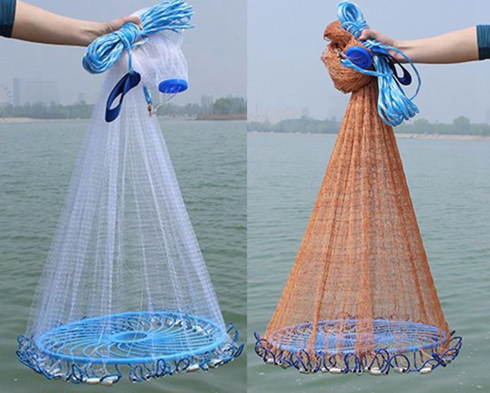 Easy throw Cast Net 3M 7.2M American Style Fishing Net small mesh Outdoor Sports frisbee casting Fishing Network tool-in Fishing Net from Sports & Entertainment    1