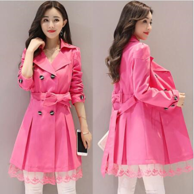 Spring Coat Women Long Sleeve Trench Lace Windbreakers Plus Size Feminino Overcoat