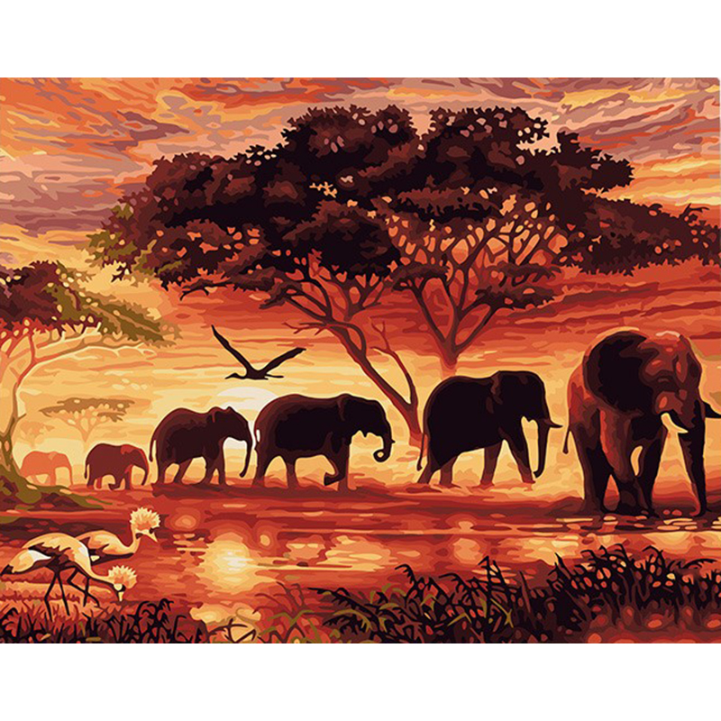Frameless Vintage Painting Sunset Elephant Landscape DIY Painting by Numbers Wall Art Handpainted Oil Painting Canvas 40x50cm