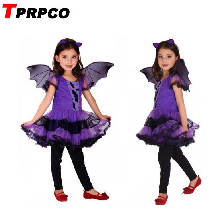 TPRPCO Party Costume for Girl Children Dance Costumes for Kids Purple Bat Halloween Chrismas Costume Fancy dress NL107