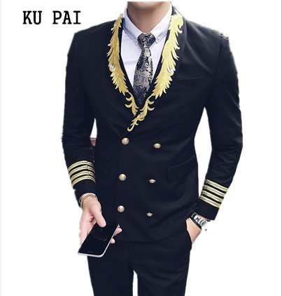 2018 catwalk host show small Blazer male short section Slim personality hair stylist Blazer embroidery trend male jacket