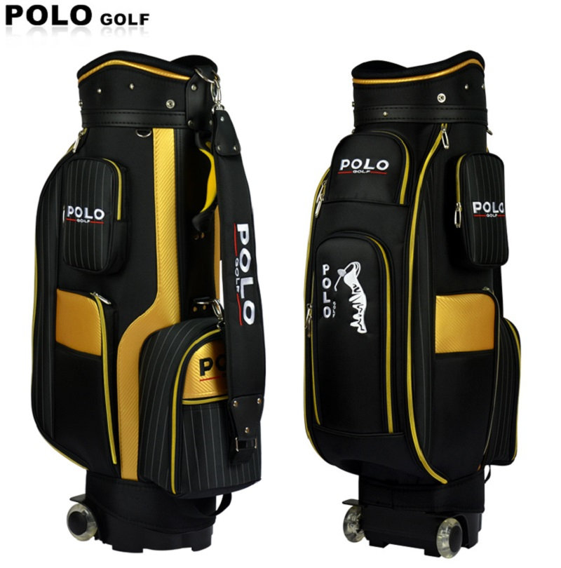Genuine POLO New Standard Ball Bag Clubs Package Professional Travel Packing Bag Male Trolley Wheels Waterproof PU Nylon Cover brand polo golf clothing bag shoes bag storage clothing bag travel tote bag anti friction pu high density nylon