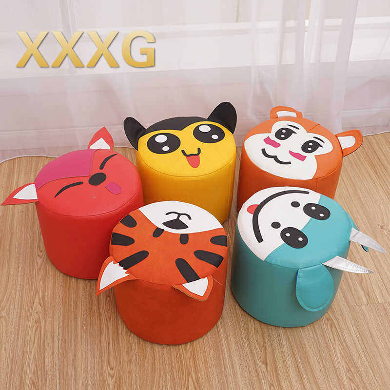 XXX//short cartoon leather shoes can put the pedal to small children squat table chair stool skin color fart Detachable storage the silver chair