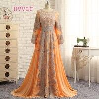 Hvvlf мусульманских Вечерние платья 2018 A Line одежда с длинным рукавом шифон Кружево Оранжевый Элегантный длинное вечернее платье для выпускног