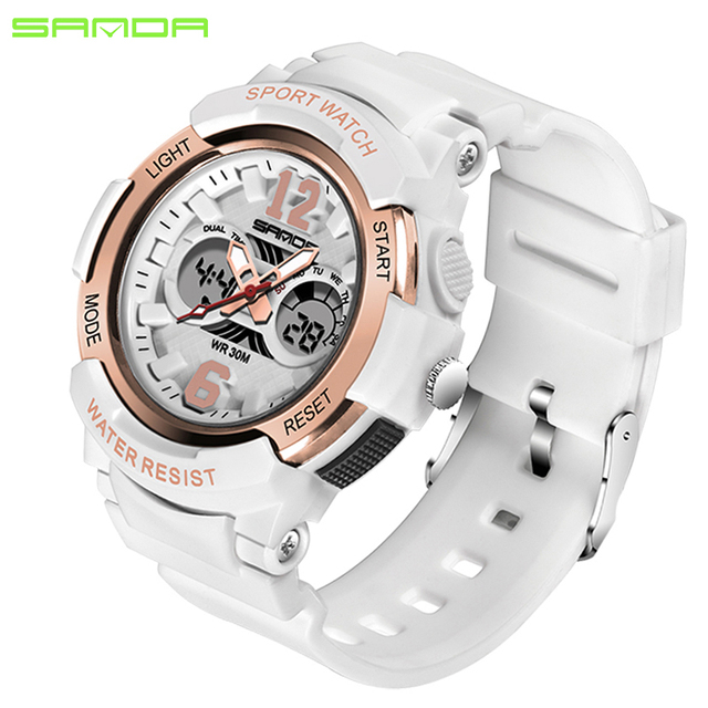 SANDA 757 Rose Gold White Sport Women Watches Fashion LED Digital Ladies Watch W