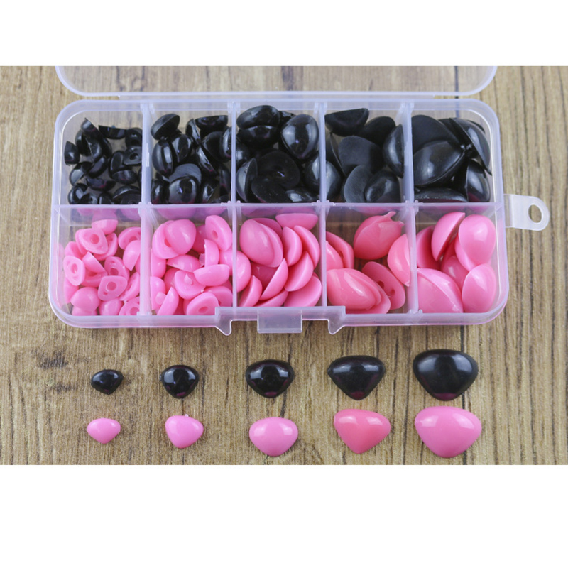 150pcs Round Flat Black Eyes Triangle Nose Plastic Eyes For Dolls Making Toys Teddy Bear Dolls Eyes Amigurumi Making Accessories