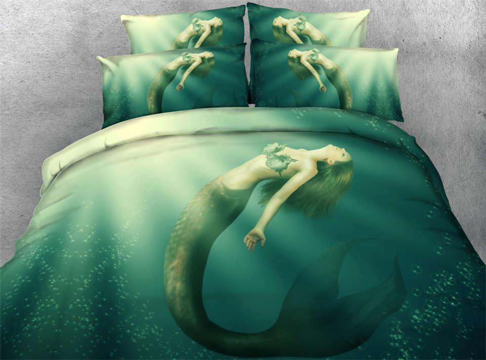 mermaid printed bedding sets comforter duvet cover bed ...