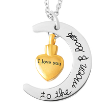 IJD9497 Unisex Stainless Steel 'I Love You To the Moon Back' Classic DIY Moon Heart Cremation Urn Pendant Necklace Free Shipping недорого