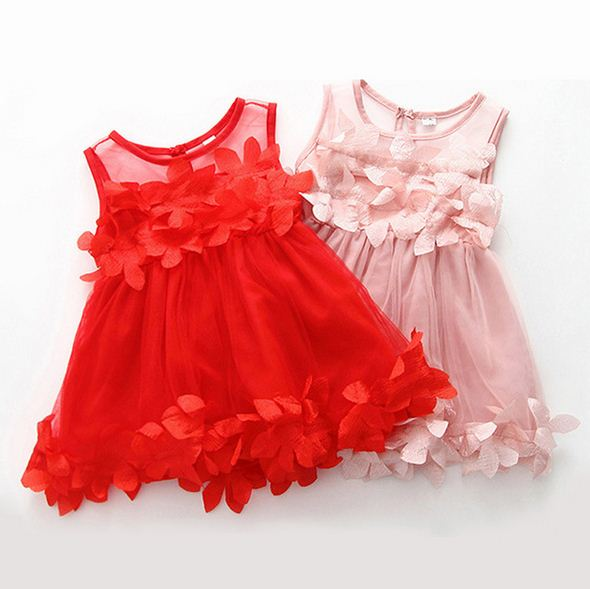 Summer Sleeveless Baby Girls Dress Flower Mesh Newborn Princess Baby Dresses Baby Clothing Fashion Infant Girl Clothes