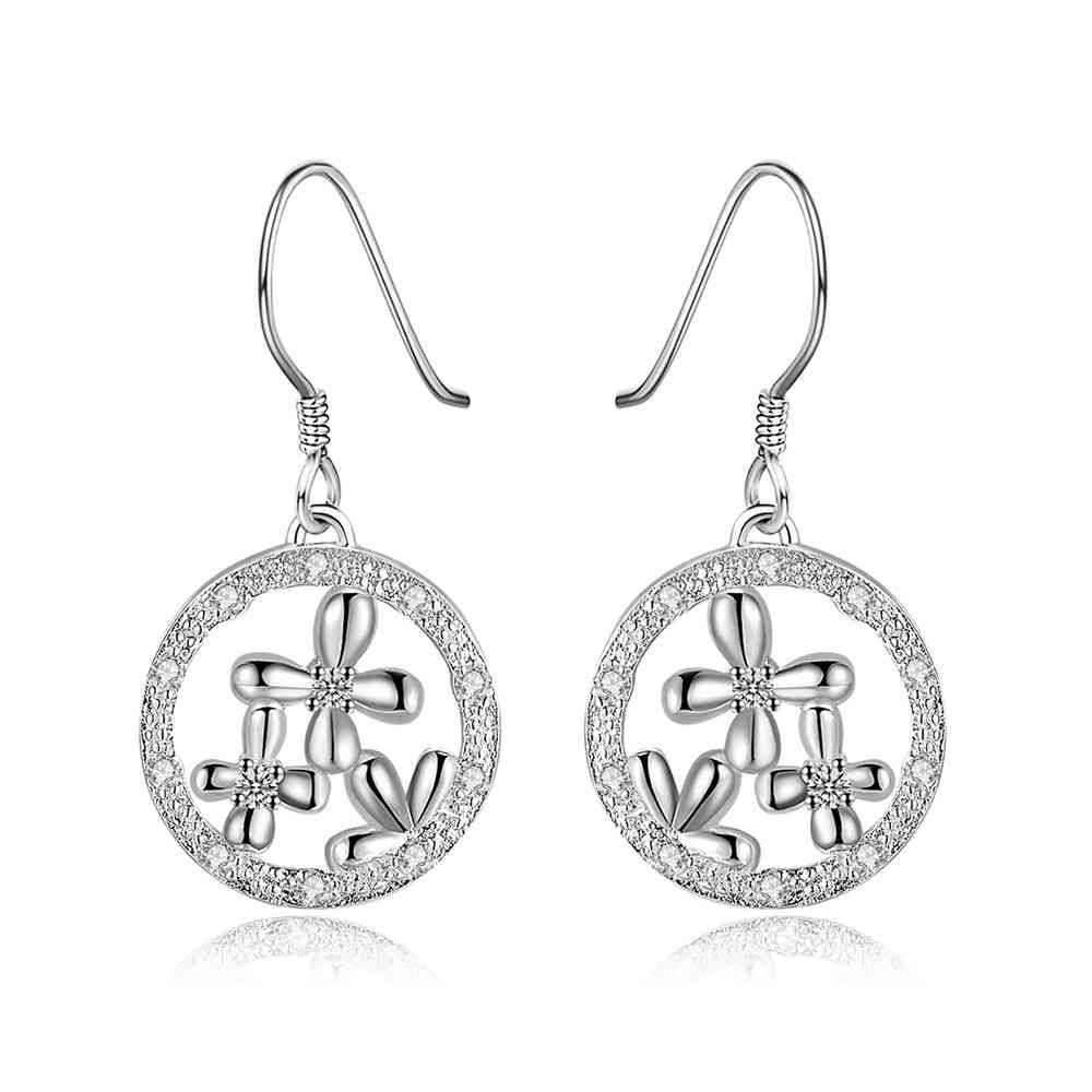Simple Fashion Style Silver plated snow in circle Earrings Jewellery mens 2014,Wholesale&Free shipping, SMTE539