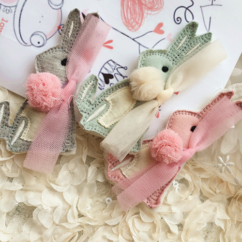 Korea Lace Bunny Cartoon Dolls Hair Accessories Rabbit Hair Clip Flower Crown Hairpin Turbante Headbands for Girls 4 halloween party zombie skull skeleton hand bone claw hairpin punk hair clip for women girl hair accessories headwear 1 pcs