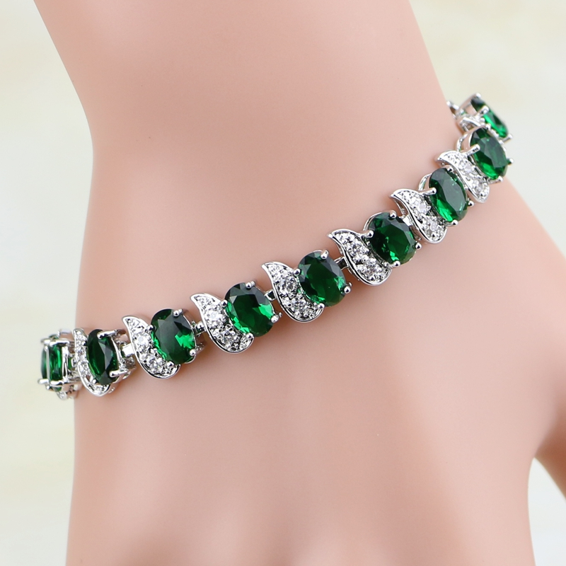 Natural Green Cubic Zirconia White CZ 925 Sterling Silver Jewelry Charm Bracelet Christmas Gifts For Women