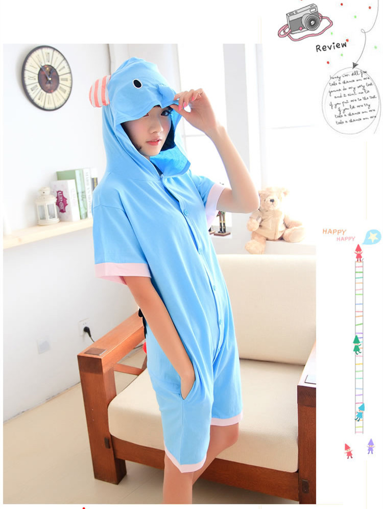 136abe2f51 new arrival Designer Anime Summer Animal blue elephant Cartoon Jumpsuit elephant  Onesie Hoodie Pajamas