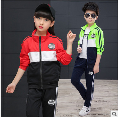 Retail children's sports suit boys and girls 3-12 years old children big virgin suit uniforms Spring clothes Jacket + Trousers 3