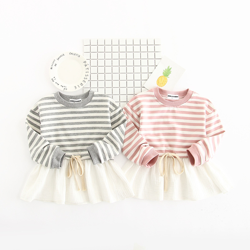 New 2017 Striped Patchwork Character Girl Dresses Long Sleeve Solid Children Clothing Kids Girls Dress Lace Kids Clothes