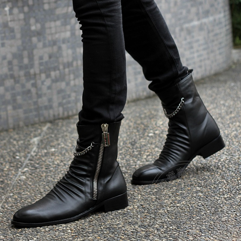 ФОТО Funky Zip High Top Wrinkle Booties Hi Street Height Increase Desert Chunky Winter Man Boots Winkle-picker Chains Real Leather