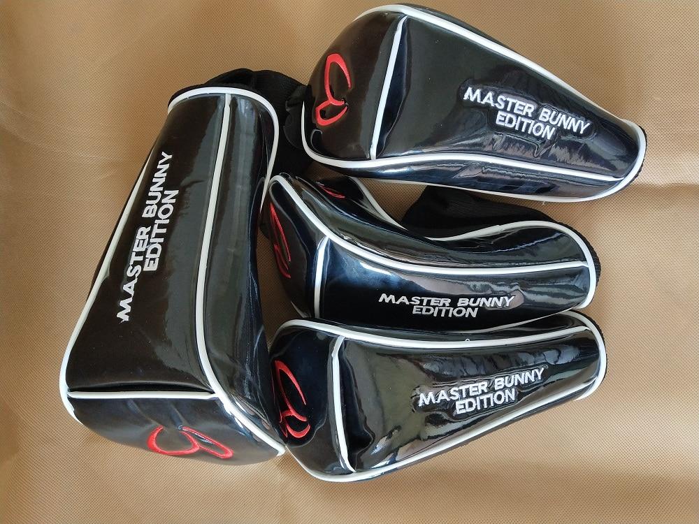 MAÎTRE LAPIN 4 pcs/ensemble Golf UT Headcovers Hybride Couvre PU En Cuir Noir Fariway Bois Couverture Couverture De Pilote