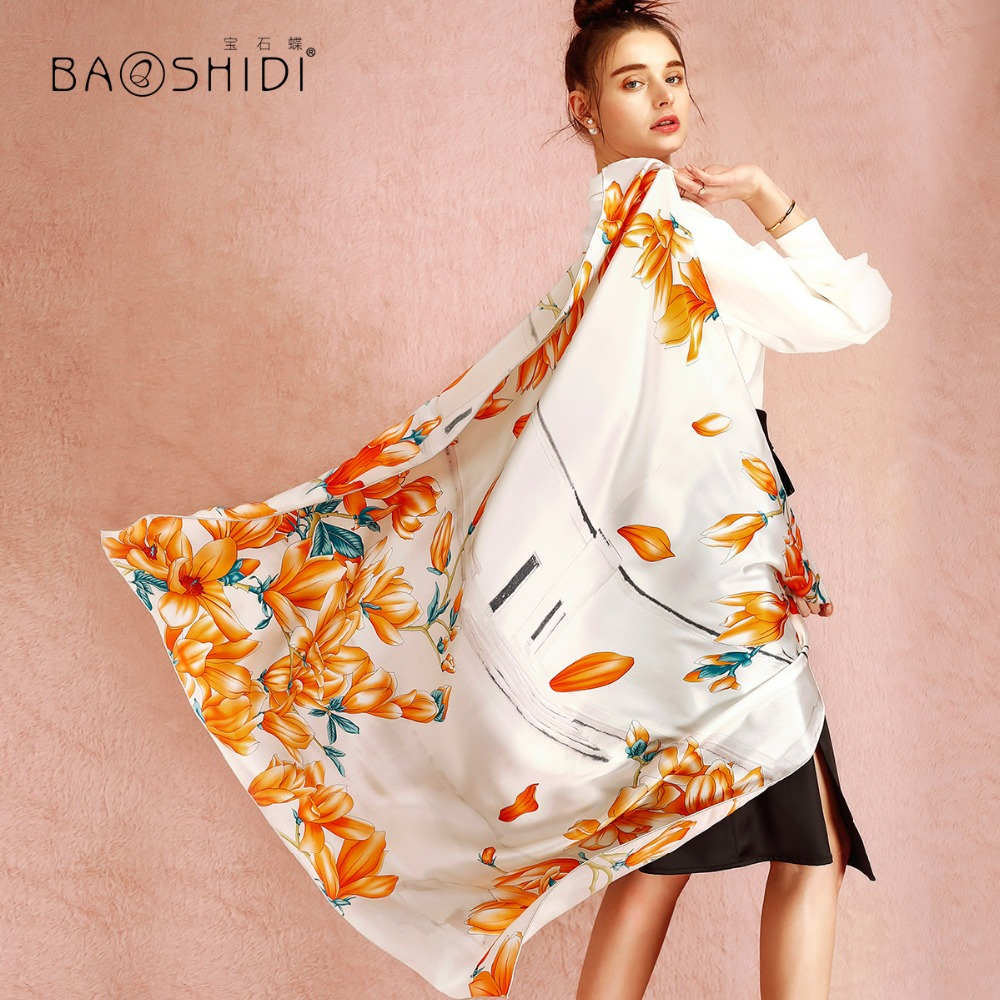 BAOSHIDI 100 Silk Satin Scarf 16m m large square shawl women Luxury brand fashion scarves