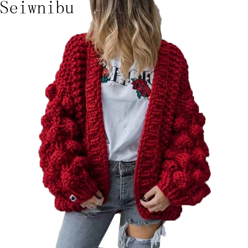 Seiwnibu new autumn winter women retro stereoscopic loose knitted casual long cardigans coat sweater outwear female