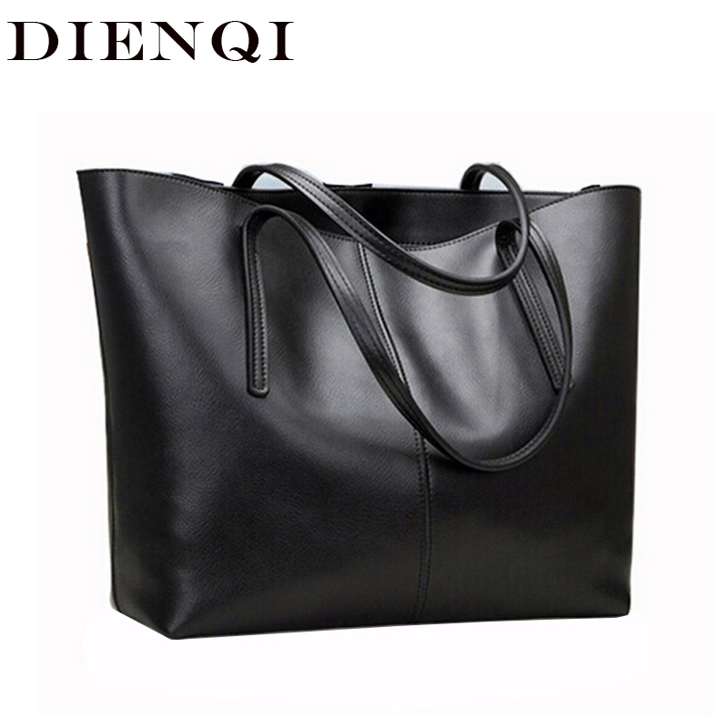 DIENQI haute qualité grande capacité en cuir véritable sacs à bandoulière pour femmes 2018 luxe mode dames sacs à main noir sac à main