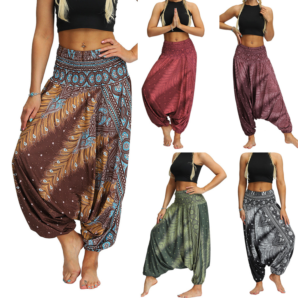 Women Casual Loose Yoga Trousers Baggy Boho Aladdin