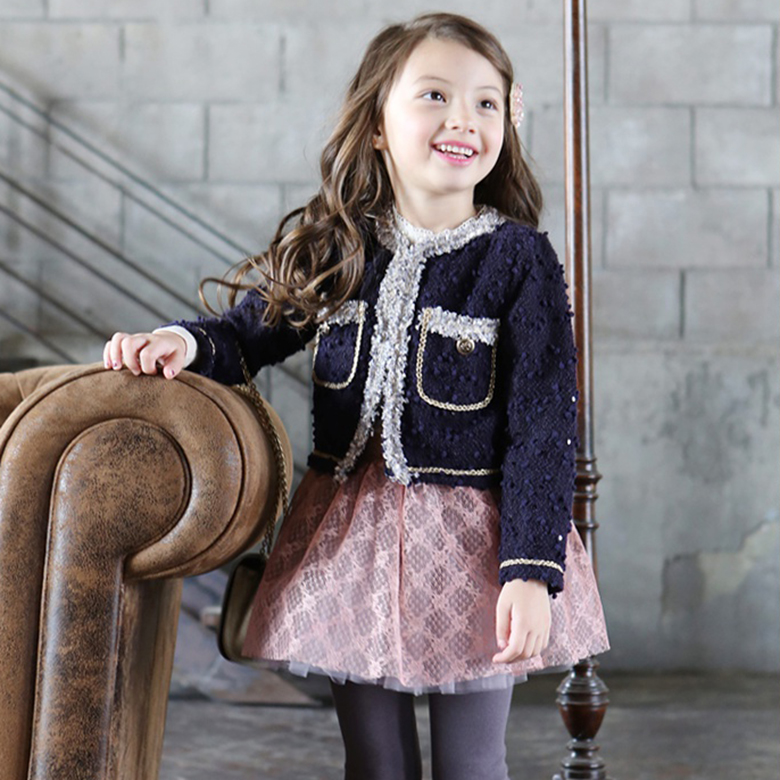 Kids girls spring and autumn coat small fragrant wind ladies princess cotton cardigan Children coat baby