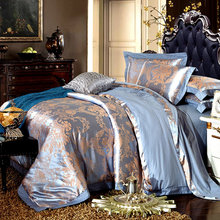 New Luxury Hotel Jacquard 4PCS Bedding Set King Queen Bed Linen Tencel Cotton Duvet Cover Satin Bedclothes Bed Sheet Pillowcases bed linen set leticia collection estetica fabric of satin jacquard production of ecotex russian companies