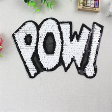 лучшая цена Fashion Letters Patch 280mm Large POW Sequins DIY Women Embroidery Iron On Patches For Clothing Applique Stickers Free Shipping