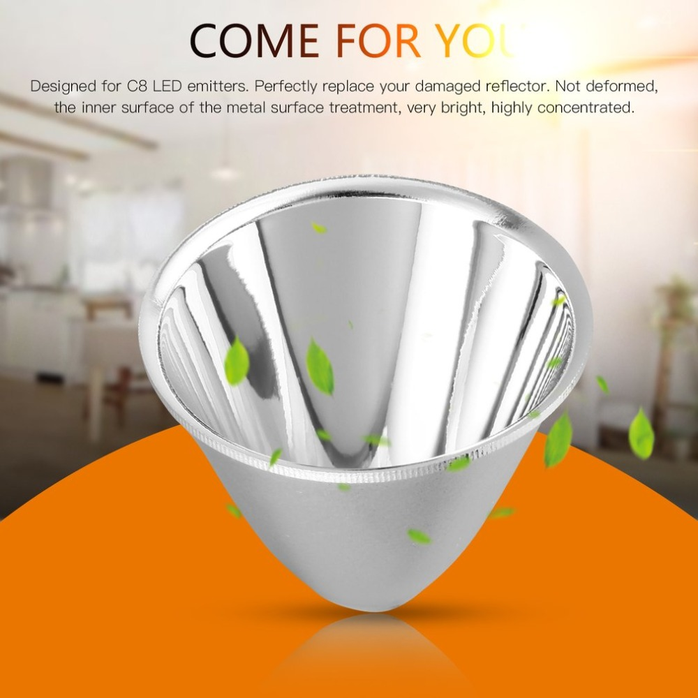 Replacement Plastic Reflector Cup Lamp Shades Aluminum Silver For C8 XM-L LED Flashlight Torch DIY Lamp Light Easy To Install