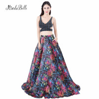modabelle Black Formal Gown Pattern Printed Satin Evening Dress With Pocket 2018 Dubai Backless Two Piece Beaded Prom Dress