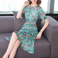 silk printed dresses women 2018 summer new fashion ruffles mermaid office lady elegant dresses