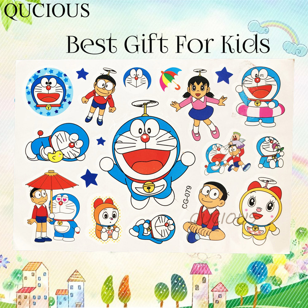 Qucious doraemon temporary tattoo cartoon stickers baby children fake flash tattoo colorful design kids arm tatoo christmas gift