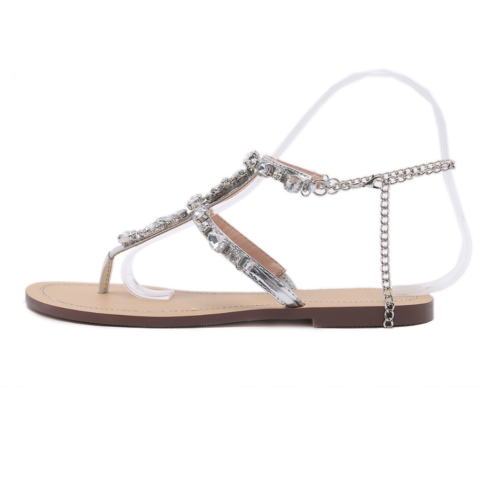 HTB1erRYq.R1BeNjy0Fmq6z0wVXae 6 Color Woman Sandals Women Shoes Rhinestones Chains Thong Gladiator Flat Sandals Crystal Chaussure Plus Size 46 tenis feminino