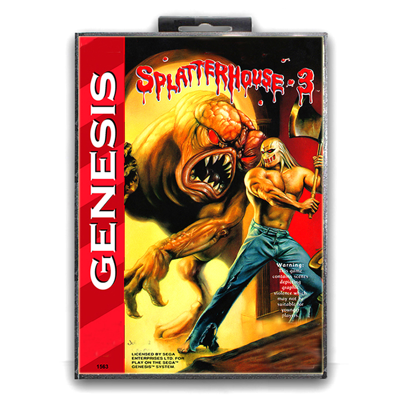 Splatter House 3 with Box for 16 bit Sega MD Game Card for Mega Drive for Genesis Video Console