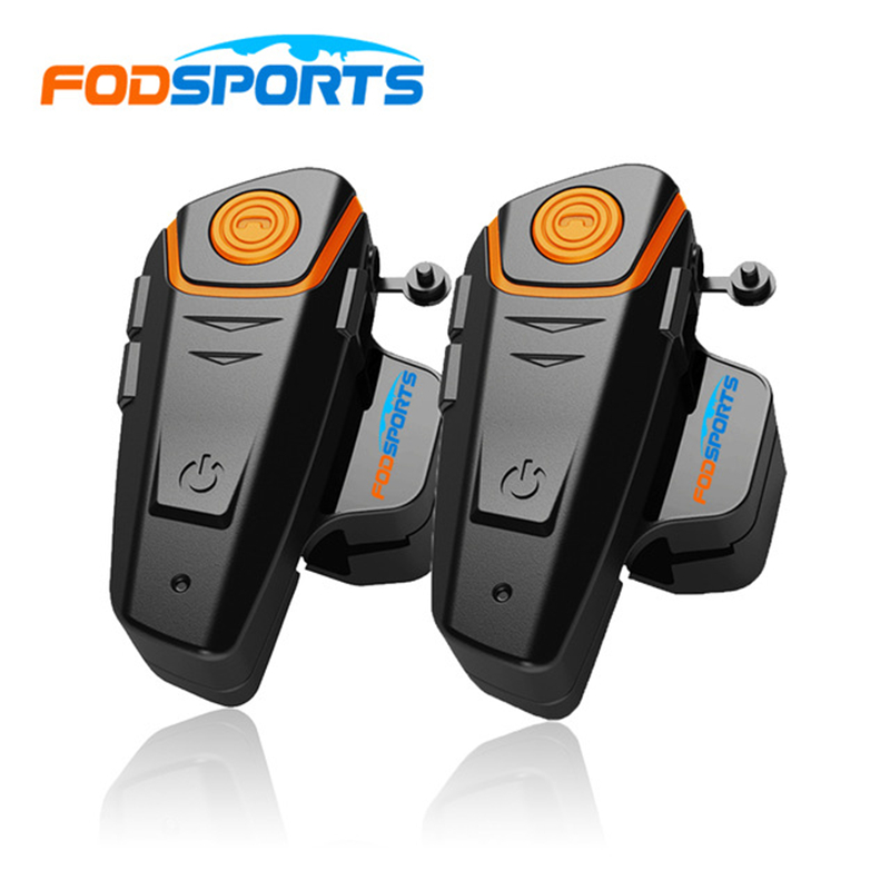 Russia Stock 2 pcs Fodsports Waterproof 100% Motorcycle Helmet Intercom BT-S2 1000m Moto Bluetooth Interphone Headset with FM 2pcs bt s2 intercom 1000m motorcycle helmet bluetooth wireless waterproof headset intercom earphone 2 riders interphone fm radio