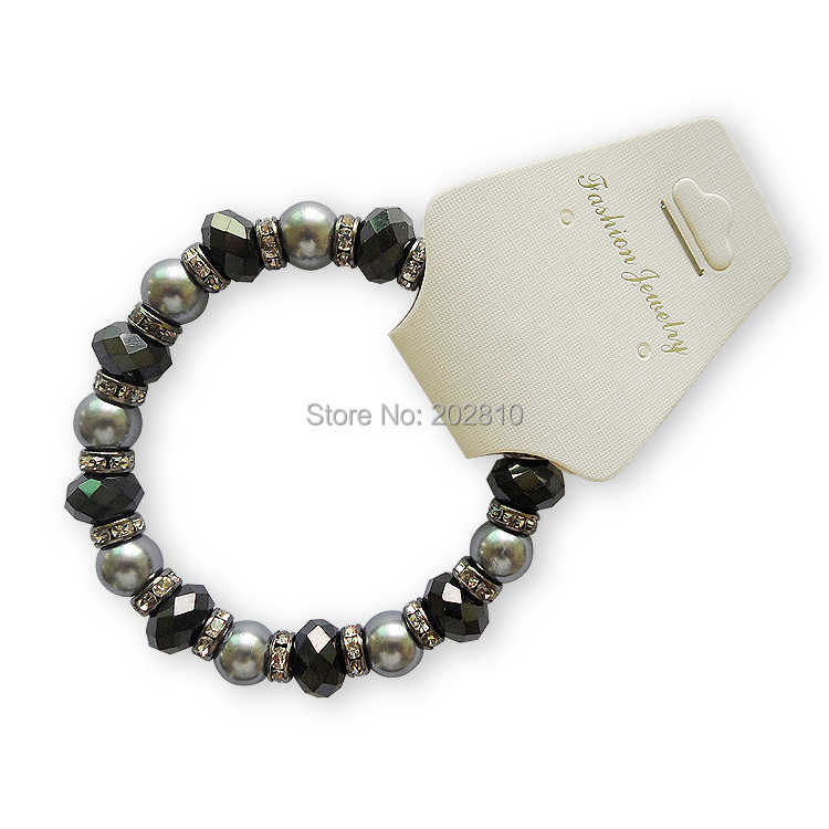 {Jewelry factory hot sales Gray pearl black crystal bracelets for women 2019,fine black gun plated set auger crystal bracelet