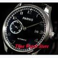 Parnis uhr 43mm schwarzes zifferblatt datum einzustellen display schwarz lederband automatikwerk herrenuhr 102 relogio masculino-in Mechanische Uhren aus Uhren bei