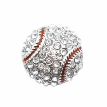 Newest 10pcs/lot Metal Enamel Baseball Crystal Sports Snap Charms Fit 18mm Ginger Buttons Bracelets Necklace DIY Jewelry