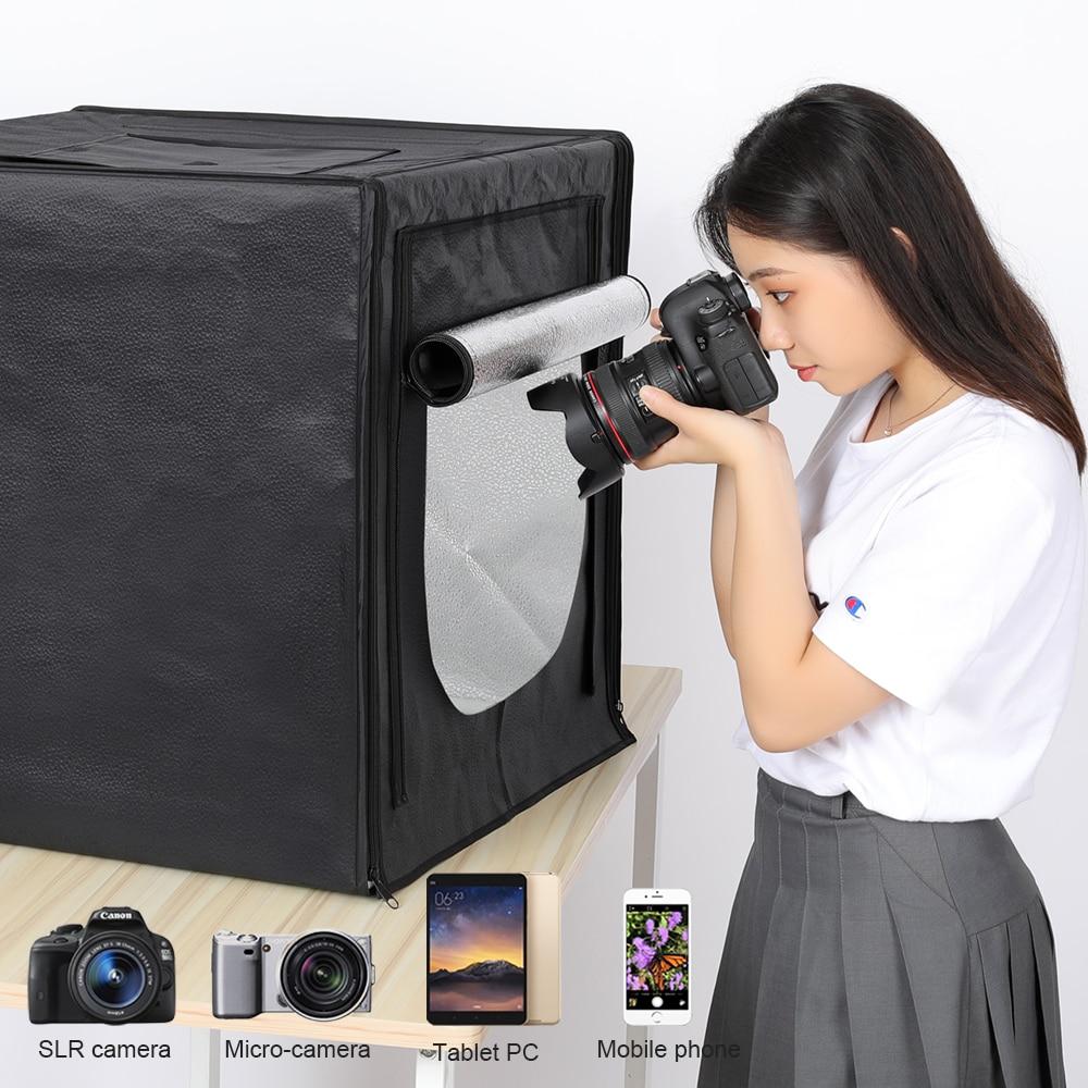 Mini Photo Studio Lightbox Table Tir Pliage Studio Portable Tente 60 cm Soft Box 160 led éclairage de photographie Kit Mise À Niveau