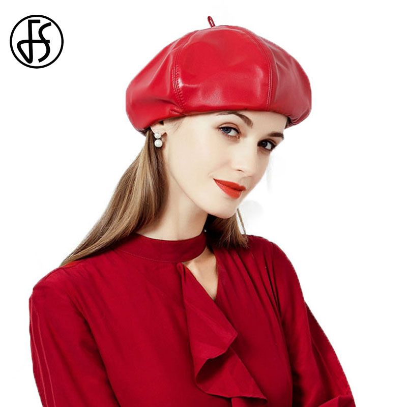 FS Fashion Black Red Pu Leather Beret Hat For Ladies Autumn Winter Hats Womens Berets Caps Gorras Boinas Female 2018 spring male genuine leather eagle print 56 60cm black brown baseball caps for man casual street glof gorras dad hat ry119