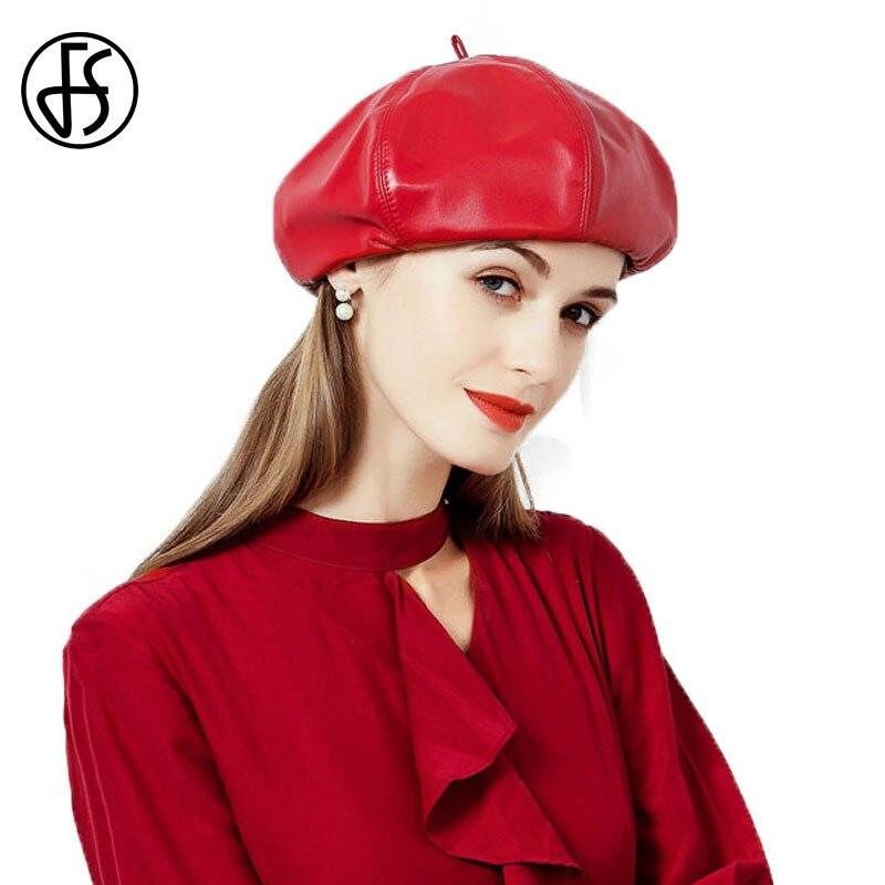 FS Moda Preto Chapéu Boina de Couro Vermelho Pu Para Senhoras Outono  Inverno Boinas Caps Gorras Chapéus Boinas Das Mulheres do Sexo Feminino em  Boinas de ... cacb7ee7b2b