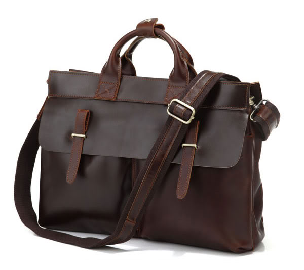 Vintage Dark Brown Genuine Leather Men Briefcase Real Cowhide Men Messenger Bags 14 Laptop Handbag
